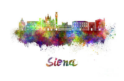 Siena Italy Painting - Siena Skyline In Watercolor by Pablo Romero