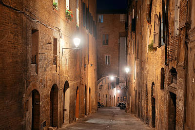 Photograph - Siena Street Night View by Songquan Deng