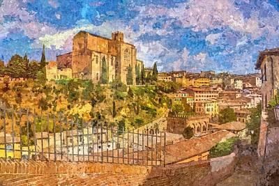 Tuscan Sunset Digital Art - Siena , Italy by Nikolay Ivanov
