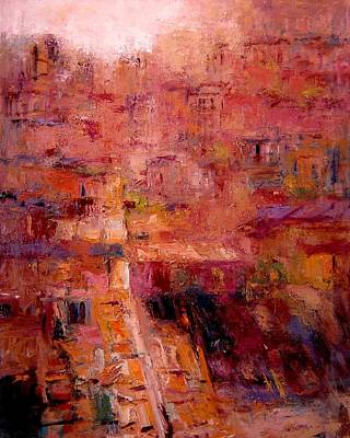 Tuscan Dusk Painting - Sienese Rooftops by R W Goetting