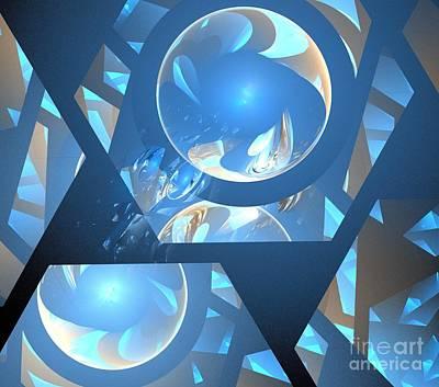 Digital Art - Sienna Blue Honeycomb by Kim Sy Ok