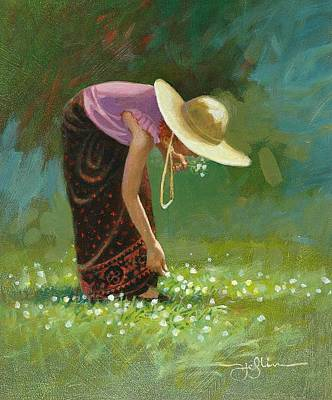 Painting - Sienna In White Clover by Tom Heflin