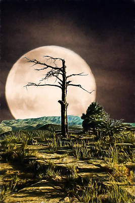 Digital Art - Sierra Anchas By Moonlight by John Haldane