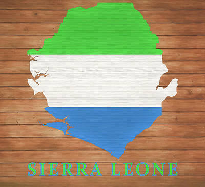 Mixed Media - Sierra Leone Rustic Map On Wood by Dan Sproul