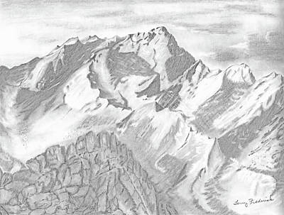 Drawing - Sierra Mt's by Terry Frederick