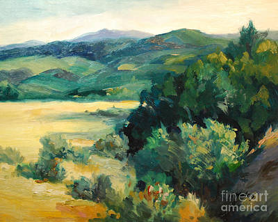 Oil Landscape Painting - Sierra Nevada Foothills Oak Trees by Karen Winters