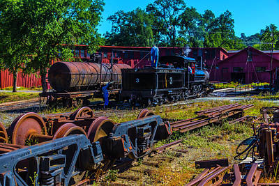 Old West Photograph - Sierra Railway Train 3 Roundhouse by Garry Gay