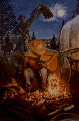 Campfire Painting - Sierra Victory 1851 by James Loveless
