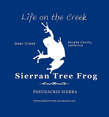 Digital Art - Sierran Tree Frog - White Graphic, White Text by Lisa Redfern