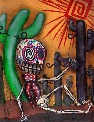 Dia De Los Muertos Painting - Siesta  by  Abril Andrade Griffith