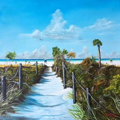Painting - Siesta Beach Access by Lloyd Dobson