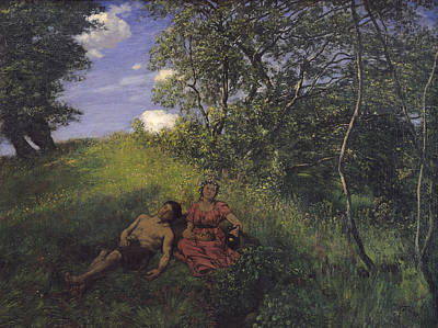 Park Scene Painting - Siesta by Hans Thoma