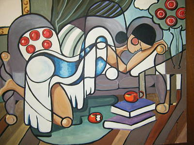 Picasso Style Painting - Siesta by Jane Toliver