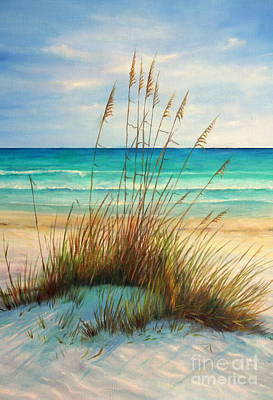 Seascape Oil Painting - Siesta Key Beach Dunes  by Gabriela Valencia