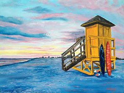 Siesta Key Life Guard Shack At Sunset Art Print by Lloyd Dobson