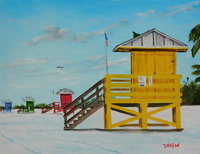 Painting - Siesta Key Lifeguard Stands by Lloyd Dobson