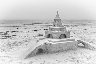 Sarasota Artist Photograph - Siesta Key Sandcastle 2, Black And White by Liesl Walsh