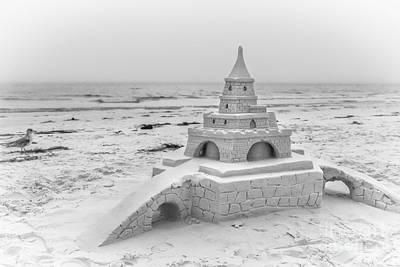 Siesta Key Sandcastle 2, Black And White Art Print
