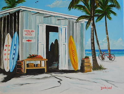 Painting - Siesta Key Surf Shack by Lloyd Dobson
