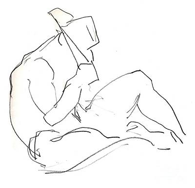 Drawing - Siesta - Male Nude by Carolyn Weltman