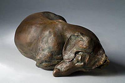 Bronze Dachshund Sculpture - Siesta Smooth by Joy Beckner