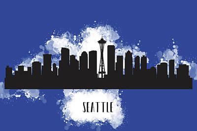 Seattle Skyline Mixed Media - Seattle Skyline Silhouette by Anna Maloverjan