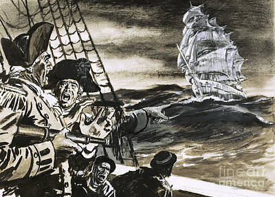 Of Pirate Ship Painting - Sighting Of A Ghost Ship by Ralph Bruce