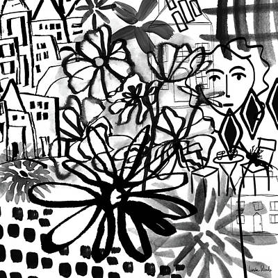 Black And White Art Mixed Media - Sightseeing 2- Art By Linda Woods by Linda Woods