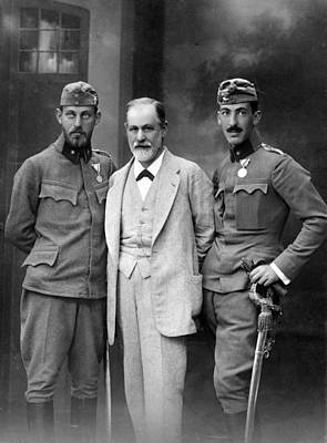 Freud Photograph - Sigmund Freud 1856-1939, With His Sons by Everett