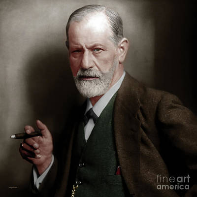 Photograph - Sigmund Freud Colorized 20170520 Square by Wingsdomain Art and Photography