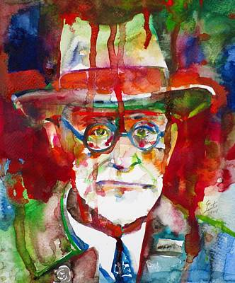 Painting - Sigmund Freud - Watercolor Portrait.13 by Fabrizio Cassetta