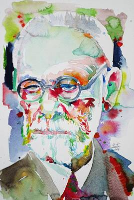 Painting - Sigmund Freud - Watercolor Portrait.14 by Fabrizio Cassetta