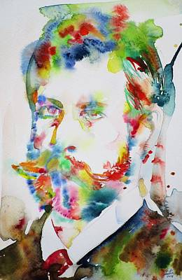 Painting - Sigmund Freud - Watercolor Portrait.15 by Fabrizio Cassetta