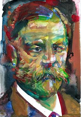 Painting - Sigmund Freud - Watercolor Portrait.16 by Fabrizio Cassetta