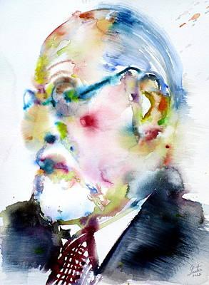 Sigmund Freud Painting - Sigmund Freud - Watercolor Portrait.3 by Fabrizio Cassetta