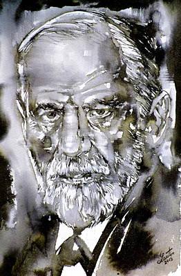 Sigmund Freud Painting - Sigmund Freud - Watercolor Portrait.7 by Fabrizio Cassetta