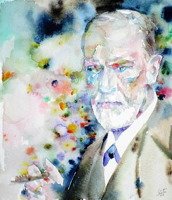 Sigmund Freud Painting - Sigmund Freud - Watercolor Portrait.9 by Fabrizio Cassetta
