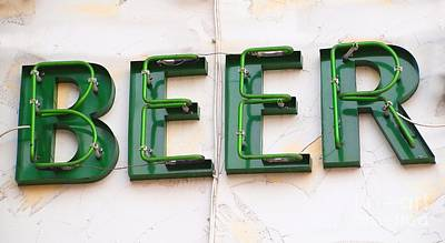 Photograph - Sign Advertising Beer by Yali Shi