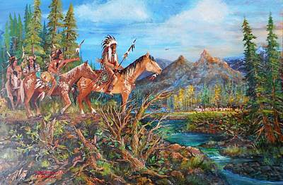 Lynn Burton Wall Art - Painting - Sign Of The Red Hawk by Lynn Burton