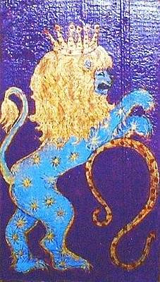 Greeting Card - Sign Of Zodiac - Leo by Rae Chichilnitsky