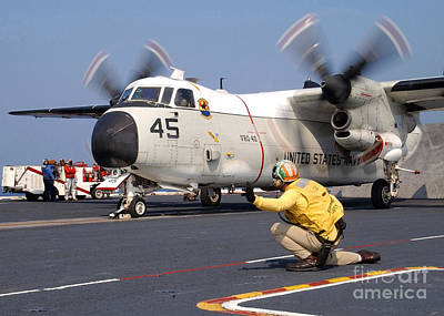 C-2 Greyhound Photograph - Signalman Gives The Launch Signal by Stocktrek Images