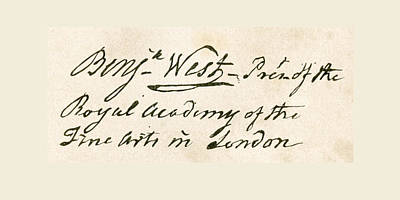 Benjamin Drawing - Signature Of Benjamin West, 1738 by Vintage Design Pics
