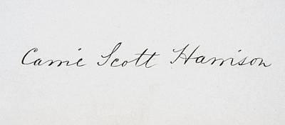 First-lady Drawing - Signature Of Caroline Lavinia Scott by Vintage Design Pics