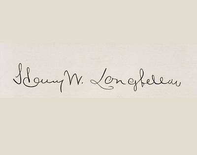 Signature Of Henry Wadsworth Longfellow Art Print by Vintage Design Pics