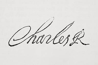 Autographed Drawing - Signature Of King Charles I Of England by Vintage Design Pics