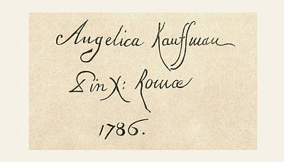 Caligraphy Drawing - Signature Of Maria Anna Angelika Or by Vintage Design Pics