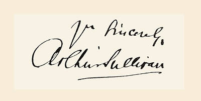Operatic Drawing - Signature Of Sir Arthur Seymour by Vintage Design Pics