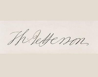 Thomas Jefferson Drawing - Signature Of Thomas Jefferson by Vintage Design Pics