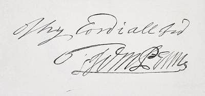 Signature Of William Penn 1644 To 1718 Art Print by Vintage Design Pics