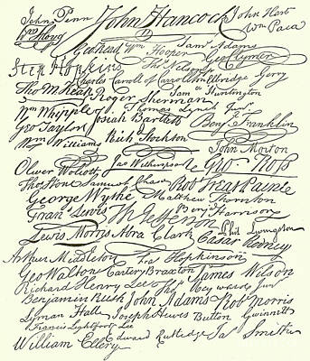 Signatures To The Declaration Of Independence Art Print
